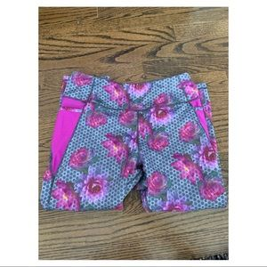 Grey and purple patterned floral capris